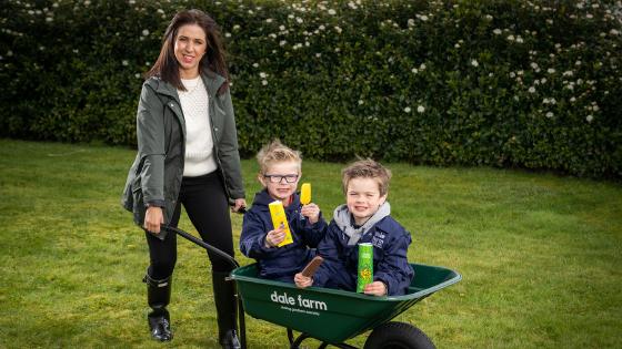 Caroline O'Neill with her kids Pearse & Darragh