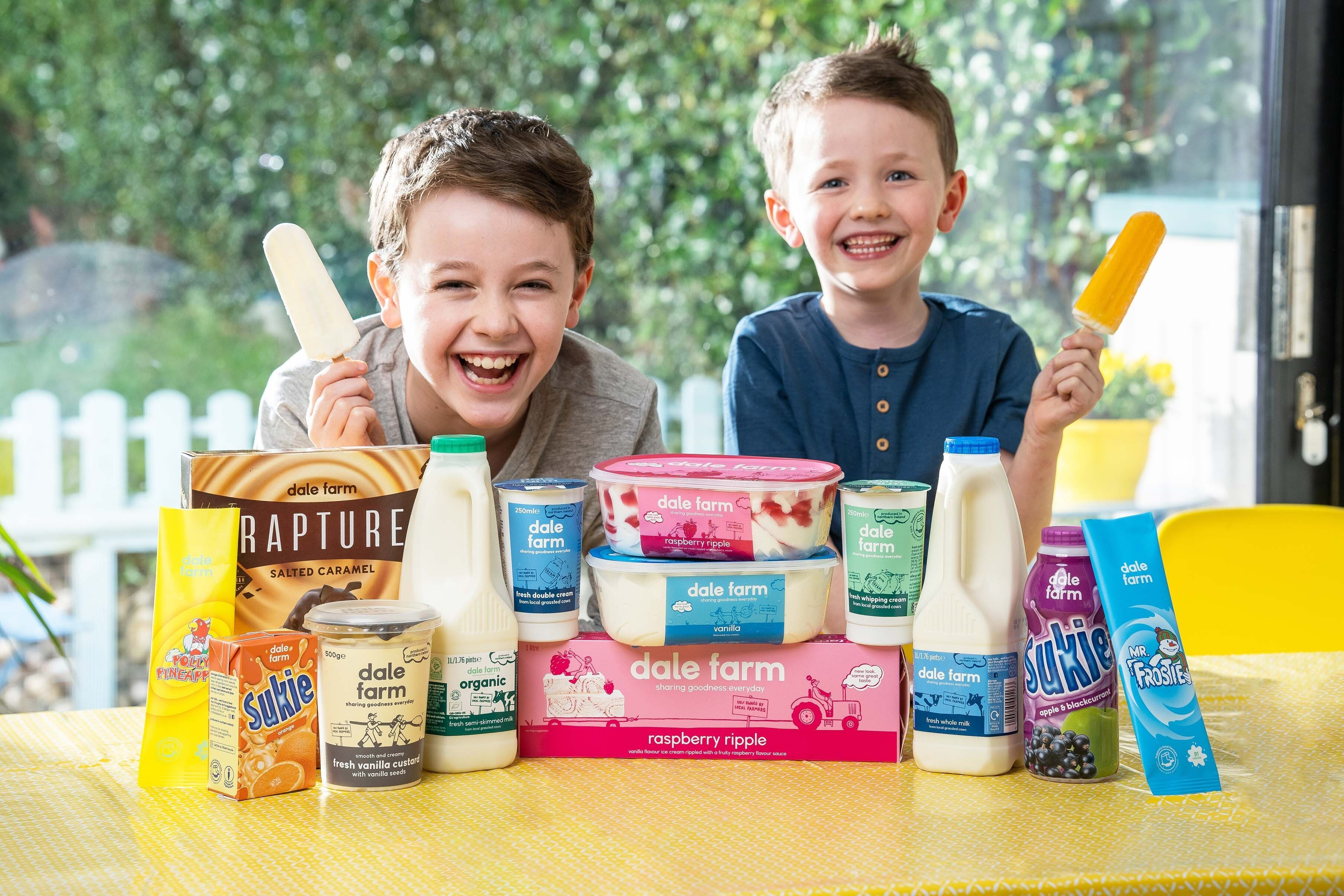 Children with dale farm products